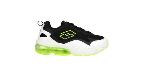 LOTTO 男女大童氣墊慢跑鞋-童鞋 避震 運動 白黑螢光綠@LT0AKR2205@