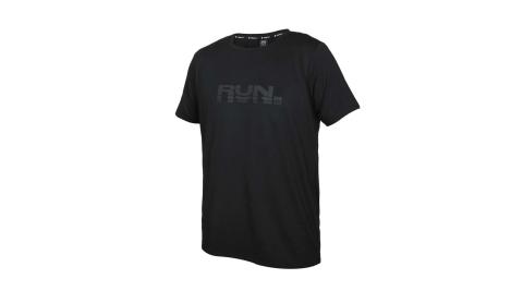 FIRESTAR 男彈性印花圓領短袖T恤-吸濕排汗 慢跑 路跑 運動 上衣 黑灰@D1735-10@