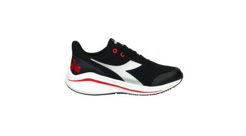 DIADORA 男女大童專業輕量慢跑鞋-超寬楦-路跑 運動 黑紅銀@DA11033@