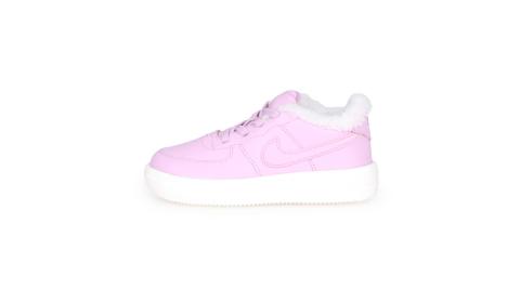 NIKE FORCE 1 18 SE-TD 女兒童運動鞋-保暖 慢跑 童鞋 粉紫白@AR1134600@