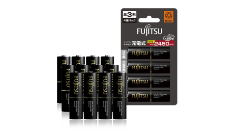 Fujitsu富士通 低自放電3號 2450mAh鎳氫充電電池 HR-3UTHC (3號12入)【日本製,加贈電池收納盒】