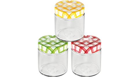 《TESCOMA》格紋玻璃密封罐3入(400ml)