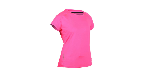FIRESTAR 女彈性短袖圓領T恤-慢跑 路跑 亮桃紅@DL965-45@