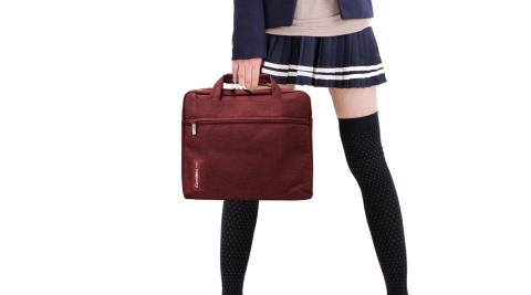 [COOL] PS學院風 13.1吋 雙拉鍊防潑水手提肩背兩用平板筆電包 秋楓紅