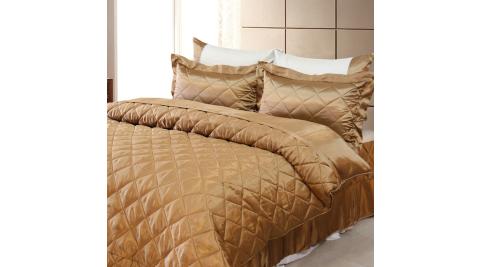 LAMINA雙色亮面精梳棉六件式床罩組-可可咖(雙人)