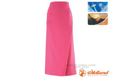 【荒野 WildLand】中性涼感紗抗UV防曬裙.遮陽罩衫.快乾透氣長裙.一片裙/抗紫外線UPF30+/W1808 櫻紅