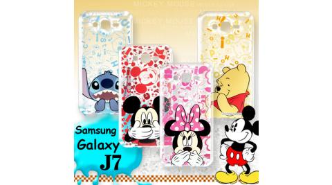 迪士尼授權正版 Samsung Galaxy J7 大頭背景系列透明軟式手機殼