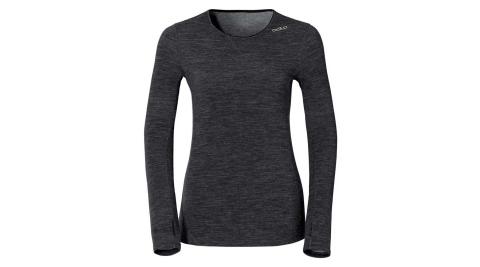 【ODLO】瑞士 女科技羊毛長袖保暖內衣 機能保暖型羊毛內衣 女款 - 麻黑 110151-15015