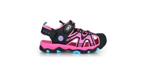 LOTTO 男女童磁扣護趾運動涼鞋-反光 休閒 海邊 戲水 拖鞋 粉紅黑藍@LT0AKS1930@