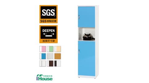 IHouse-零甲醛 環保塑鋼緩衝雙門置物鞋櫃(寬43深37高180)