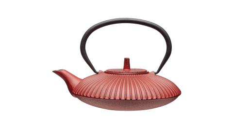 《KitchenCraft》鑄鐵濾茶壺(朱紅直紋0.6L)