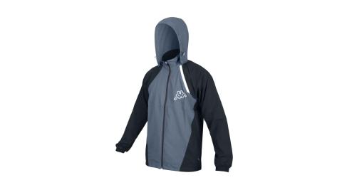 KAPPA 男單層外套-連帽外套 防潑水 抗UV 防風 風衣 運動 慢跑 路跑 灰黑白@311811W-A00@
