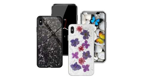 CITYBOSS for iPhone XS Max 璀璨花紛全包防滑保護殼-紫蕊 /銀箔飛燕  兩款任選