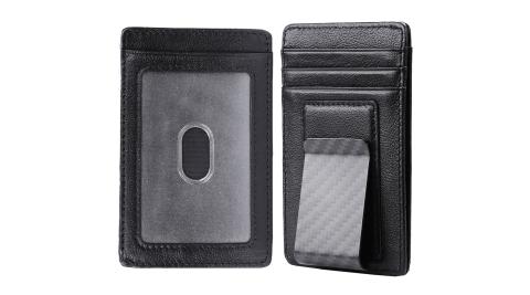 《Kinzd》可卸式防盜證件鈔票夾(真皮黑)