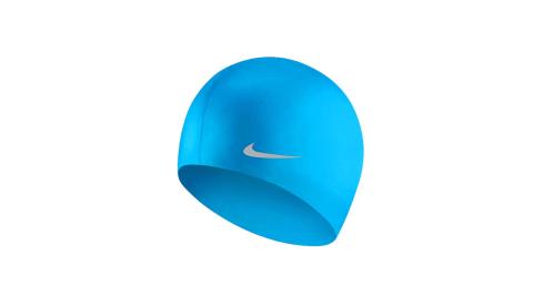 NIKE SWIM 青年矽膠泳帽-游泳 戲水 海邊 沙灘 寶藍銀@TESS0106-458@