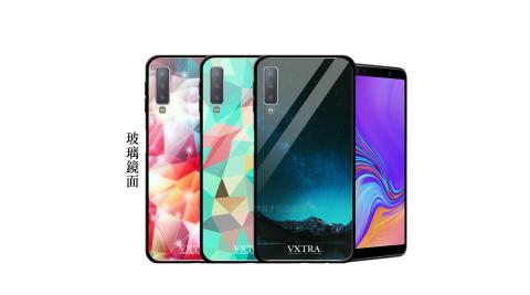 VXTRA 三星 Samsung Galaxy A7 (2018) 鋼化玻璃防滑全包保護殼 手機殼 繽紛系列