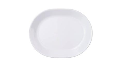 美國康寧餐具12.5吋平腰子盤 純白