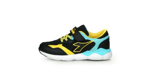 DIADORA 男女中童競速慢跑鞋-超寬楦 運動鞋 魔鬼氈 黑藍黃@DA11015@