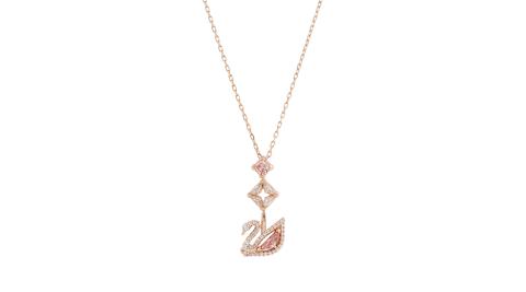 SWAROVSKI 施華洛世奇 DAZZLING SWAN粉色水晶天鵝Y型玫瑰金項鍊 5473024