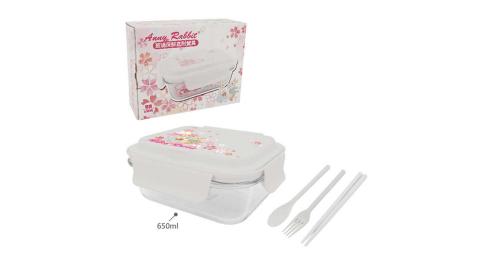 安妮兔 組合餐具玻璃保鮮盒-櫻花 008LH-019