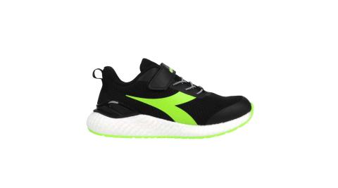 DIADORA 男女大童運動慢跑鞋-超寬楦-路跑 耐磨 反光 彈力球 黑綠@DA13019@