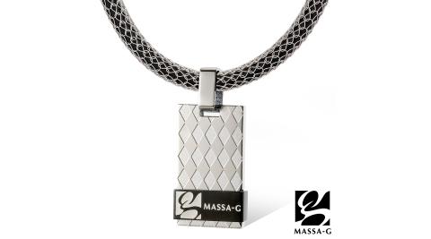MASSA-G 黑色菱格純鈦墬搭配 X1 4mm超合金鍺鈦項鍊