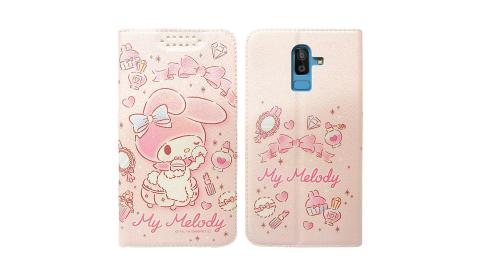 三麗鷗授權 美樂蒂 Samsung Galaxy J8 粉嫩系列彩繪磁力皮套(粉撲)