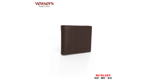 【vensers】小牛皮潮流個性皮夾(TA302902咖啡短夾)