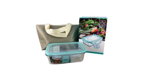 庫存出清 售完不補 愛佳寶 耐熱分隔玻璃保鮮盒800ml+保溫提袋 AKB-800BP