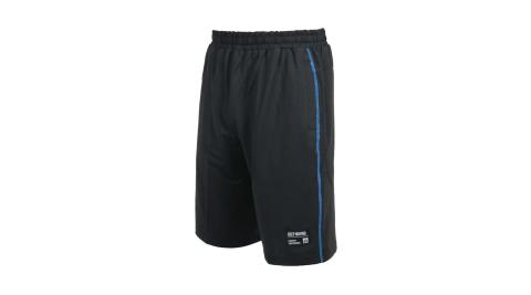 FIRESTAR 男彈性訓練籃球短褲-運動 慢跑 路跑 五分褲 針織 吸濕排汗 黑藍@B1705-92@