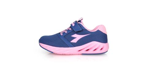 DIADORA 男女大童歐風運動跑鞋-超寬楦 慢跑 魔鬼氈 藍粉紅@DA11011@