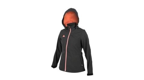 KAPPA 女防潑水刷毛外套-保暖 風衣 連帽外套 平織 黑粉橘@351299W-B55@