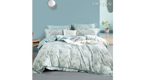 《DUYAN 竹漾》天絲雙人加大床包被套四件組 - 蒲青花苑