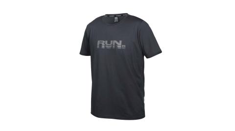 FIRESTAR男彈性印花圓領短袖T恤吸濕排汗慢跑路跑運動反光上衣深灰D173515