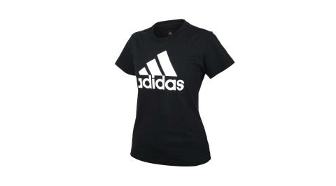 ADIDAS 女短袖T恤-亞規 純棉 休閒 慢跑 上衣 愛迪達 黑白@GL0722@