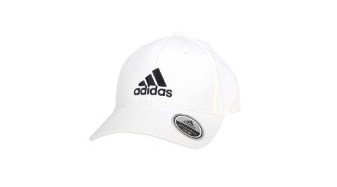 ADIDAS 運動帽-純棉 遮陽 防曬 鴨舌帽 帽子 愛迪達 基本款 棒球帽 白黑@FK0890@