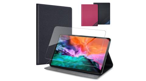 CITYBOSS for 2020 iPad Pro 12.9吋 運動雙搭隱扣皮套+專用玻璃組