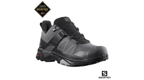 【Salomon】登山鞋 男 X ULTRA 4 低筒 GORETEX 防水 磁灰/黑/石碑灰 健行鞋