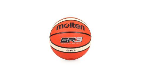 MOLTEN 兒童-12片橡膠平溝籃球-3號球 米白橘@BGR3-OI@