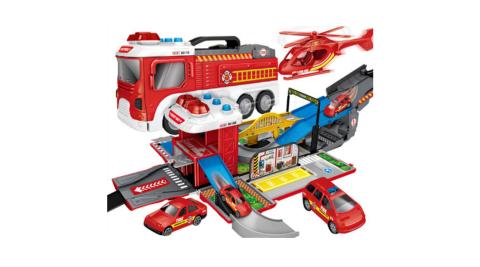 【孩子國】聲光場景賽道變形工程消防車(送12台造型迴力小車)