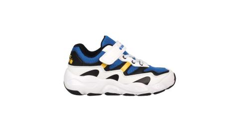 DIADORA 男大童運動鞋-超寬楦-魔鬼氈 童鞋 慢跑 白藍黃@DA11029@