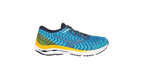 MIZUNOWAVERIDER2男慢跑鞋4E寬楦美津濃藍黃J1GC207630
