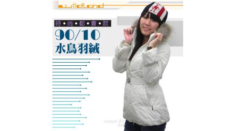荒野wildland女款中長版貉子毛單件式保暖羽絨外套大衣保暖外套92107米白