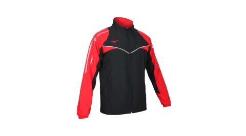 MIZUNO 男平織外套-立領外套 美津濃 抗UV 慢跑 路跑 黑紅白@32TC108496@