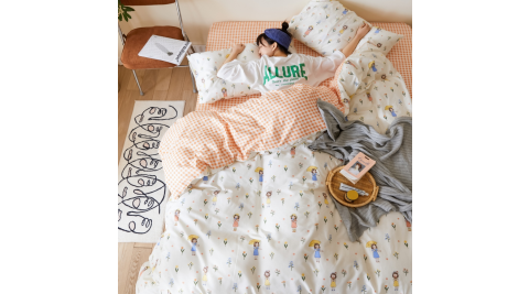 【KOKOMO'S扣扣馬】MIT天然精梳棉200織紗雙人床包3件組-閒遊人間