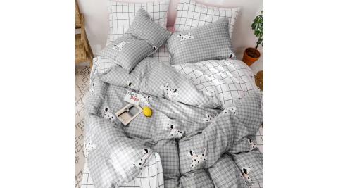 【KOKOMO'S扣扣馬】MIT天然精梳棉200織紗雙人被套加大床包四件組-狗狗泡牛奶浴
