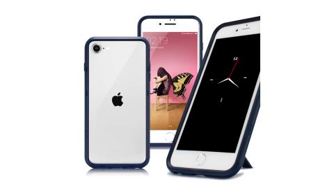 Thunder X 第二代 iPhone SE2 4.7吋 防摔邊框手機殼-藍色