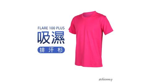 HODARLA FLARE 100 PLUS 男女吸濕排汗衫-短T 短袖T恤 台灣製 桃紅@3153708@