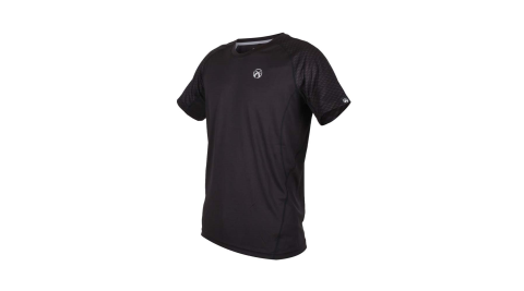 FIRESTAR 男吸濕排汗圓領短袖T恤-慢跑 路跑 黑銀@D9235-10@