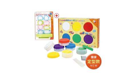 【Q-doh】 魔法定型有機矽膠黏土6色補充盒( 基本色)+ 壓模專用工具 超值組
